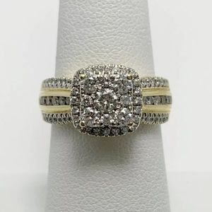 Jewelry - 1.10 carat 14k yellow gold diamond cluster ring